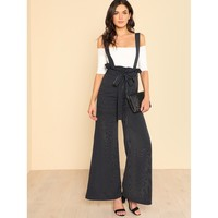 Navy Belted Wide Leg Pinstripe Pants With Strap