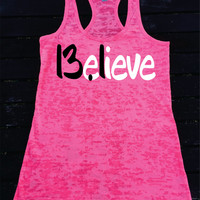 Believe 13.1 Half Marathon Running  Burnout Racerback Athletic Fit TankTop  Super Comfy  Gift Unique Best  Great Tank Top