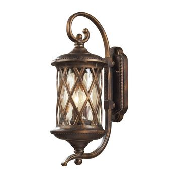 42031/2 Barrington Gate 2 Light Outdoor Sconce In Hazlenut Bronze And Designer Water Glass - Free Shipping!