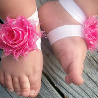 Baby Barefoot Sandals..Petite Pink Polka Dot..Toddler Sandals..Newborn Sandals