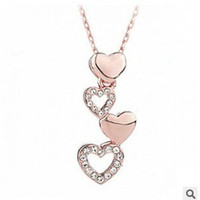 New Fashion Hot Necklace Korea Fashion Jewelry four Hearts together forever love Necklace for women = 1669290052