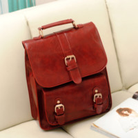 Retro PU Leather Backpack for School D643