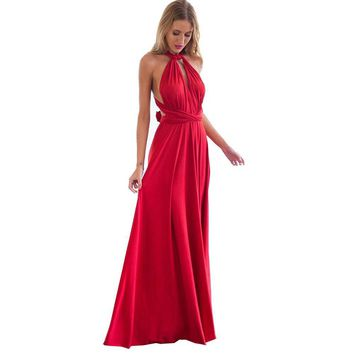 Sexy Women Multiway Wrap Boho Maxi Club Red Dress Long Dress Party Bridesmaids Robe Longue Femme designer clothes