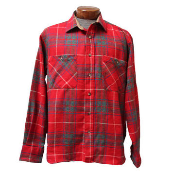 Red Wool Blend Flannel Shirt Size Large