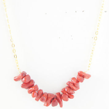 Red Bamboo Coral Gold Plated Necklace