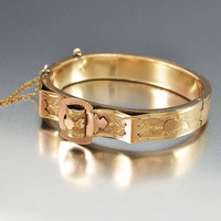 Rose Gold Buckle Victorian Bangle Bracelet Bates & Bacon Hinged Cuff Bracelet Wedding Bracelet Victorian Antique Jewelry