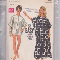 60s vintage pattern for zip front beach cover-up in 2 lengths misses one size fits misses 8 10 12 14 16 18 Butterick 4889 CUT and COMPLETE