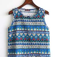 Blue Tribal Print Crop Tank Top