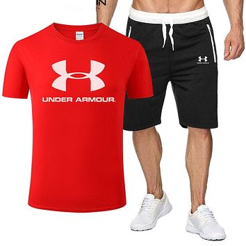Under Armour New fashion letter print top and shorts two piece suit men Red