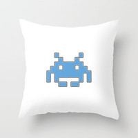 Blue Space Invader Throw Pillow by Project M | Society6