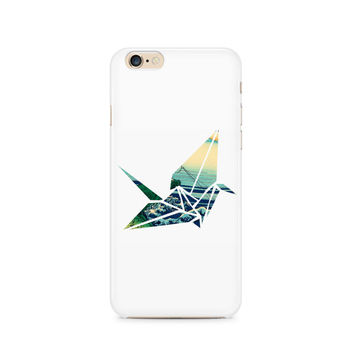 Crane origami cell phone case in WHITE, Japanese art, Hokusai, Apple iphone, Samsung Galaxy, Note, 6, 6 plus, 5, 4 etc