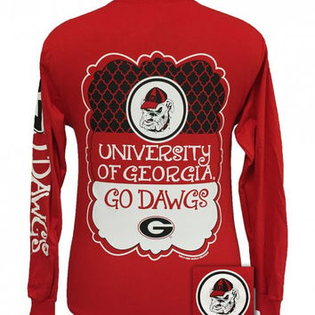 best service 9ee54 4bfd0 Georgia Bulldogs Southern Preppy Frame Logo Long Sleeve T Shirt