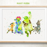 Shrek, Donkey, Princess Fiona, Puss in Boots - Watercolor, Art Print, Home Wall decor, Watercolor Print, Disney Poster