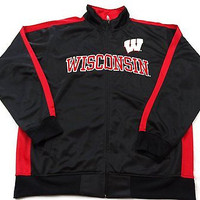 University of Wisconsin Badgers Tricot Side Panel Full Zip Track Jacket Size XLT