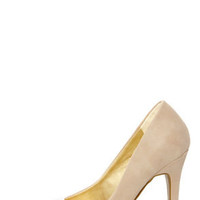 Shoe Republic LA Latin Nude and Silver Cap-Toe Pointed Pumps