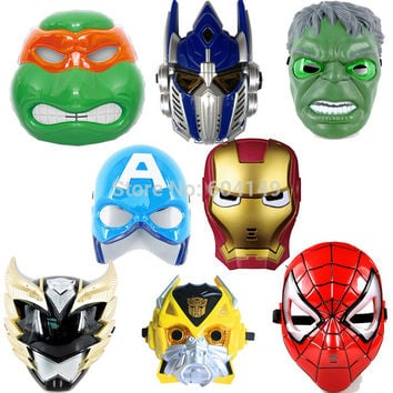 Hot Kids Toy The Avengers Super Hero Transformers LED Eye Light Full Face Mask Masquerade Cosplay Helmet Costume Halloween