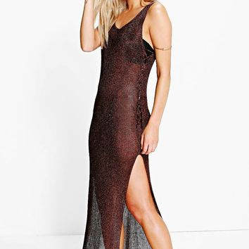 Boutique Olivia Metallic Knit Beach Dress