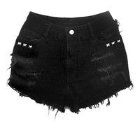 Plus Size Black High Waisted Jean Shorts - Lightly Studded