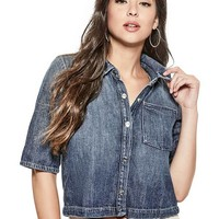 Aubrey Cropped Denim Shirt at Guess