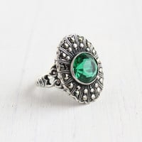 Antique Art Deco Emerald Green Ring - Vintage Size 6 1930s Sterling Silver & Marcasite Signed Uncas Jewelry / Statement Shield
