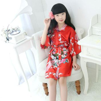 Bathrobe For Children flower girl Kids Robe Satin summer Kimono Bridesmaid Flower Girl Dress Baby Bathrobe dressing gown