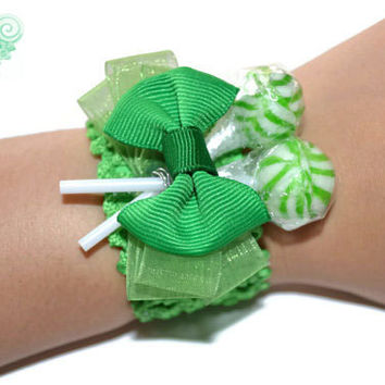 Green Lollipop Wrist Corsage, Green, Unique, Prom, Homecoming, Candy, Lollipop, Corsage, Candy Corsage, Lollipop Corsage, Prom Corsage
