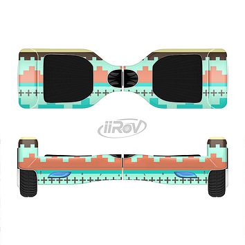 The Teal & Gold Tribal Ethic Geometric Pattern Full-Body Skin Set for the Smart Drifting SuperCharged iiRov HoverBoard