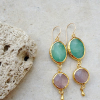 Dangle Earrings fall jewelry bright sky blue amazonite and rose pink quartz stones  gold  long earrings gemstone earrings israel