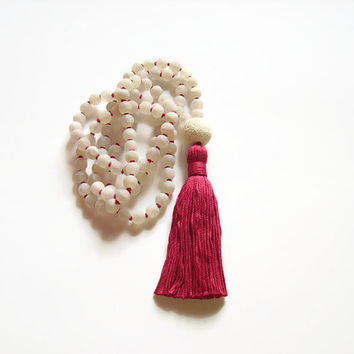 Buddhist mala jewelry long hand knotted tassel necklace, White agate prayer meditation necklace 108 beads