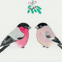 Bird Christmas card. Unique christmas card. Eurasian bullfinch couple. Kiss of love. Art from Finland. Christmas art. Christmas atmosphere.