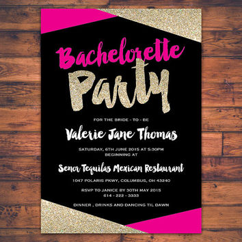 PRINTABLE Bachelorette Party Invitation Card Hen Party Stagette Party Faux Gold Glitter Sparkle Fun Invite Card Customized Digital Print