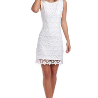 WHITE CROCHET SHIFT DRESS