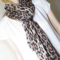 Big, Leopard, Scarf, Muffler, Chiffon, Scarf, Fabric, Modern, Shic, Stylish, Birthday, Friendship, Sister, Gift