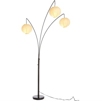 Contemporary Floor Lamp with 3-Light Rice Paper Arch Spheres