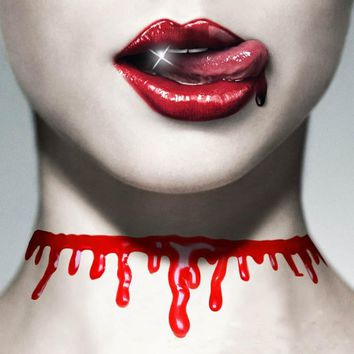 2Pcs/lot Halloween Bloody Neck Scary Horror Blood Chain Necklace