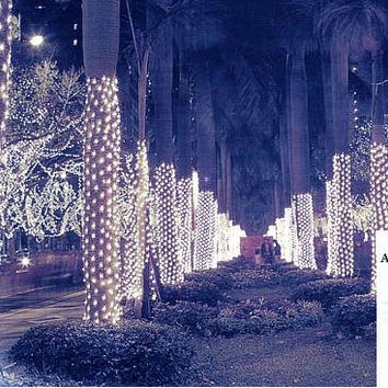 Cool White Tree Trunk Net Christmas Lights - 150 Bulbs On Brown Wire