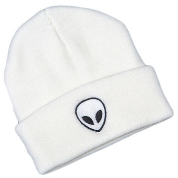 Alien Head Embroidered Beanie Fashion Casual Womens & Mens Warm Winter Knitted Cotton White Cuffed Skully Hat
