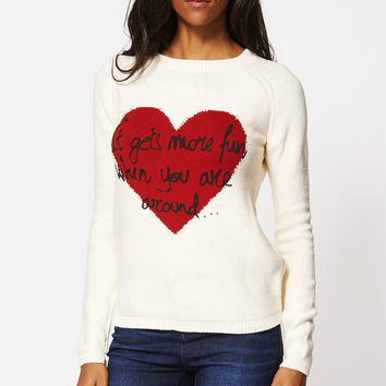 Heart Print 'It gets more fun when you are around...' Knitted Jumper
