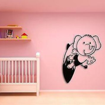 Wall Sticker Cute Baby Elephant on A Serfing Board Decor for Nursery Room Unique Gift z1439