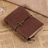 Personalized Leather Journal Notebook With Cross -Hand Crafted Vintage Refillable Leather Traveler's Notebook - Passport Size