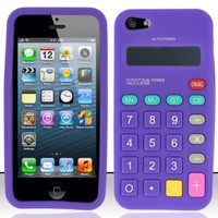 For iPhone 5 Calculator Silicon Skin Case - Purple SCCL