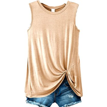 Sleeveless Front Knot Top, Taupe