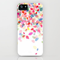 Watercolor Colorful Dots Falling iPhone & iPod Case by Yao Cheng Design