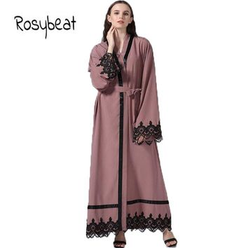 Muslim  Women  Maxi   Dress  Big  Size  4XL  Ladies   Long  Sleeve  Pink  Islamic  Cardigan  Flare  Sleeve  Plus  Size  5XL
