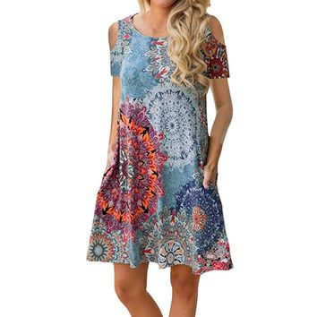 Bohemian style Women's Cold Shoulder Sundress T-Shirt Dress for Summer with Pockets Vintage Casual ladies girls dress vestidos