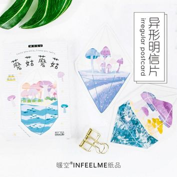 30 pcs/lot Novelty Heteromorphism Watercolor Mushroom postcard greeting card christmas card birthday card gift cards