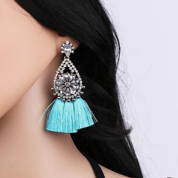 Janika Turquoise Tassel Crystal Earrings
