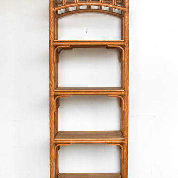 Vintage Bamboo / Rattan + Mahogany Wood Bookshelf / Shelving Unit / Shelf BoHo Chic