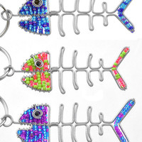 Beaded Fish Bones Keychain or Zipper Pull - African beaded animal keyring