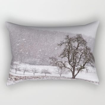 Old pear tree on a wintery meadow Rectangular Pillow by Pirmin Nohr